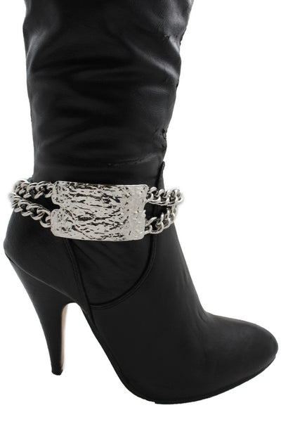 Gold Silver Metal Boot Chains Bracelet Sqaure Plate Anklet Shoe Charm New Women Western Style - alwaystyle4you - 1