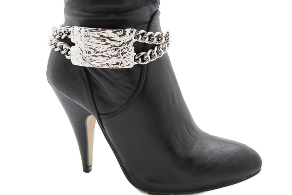 Gold Silver Metal Boot Chains Bracelet Sqaure Plate Anklet Shoe Charm New Women Western Style - alwaystyle4you - 5