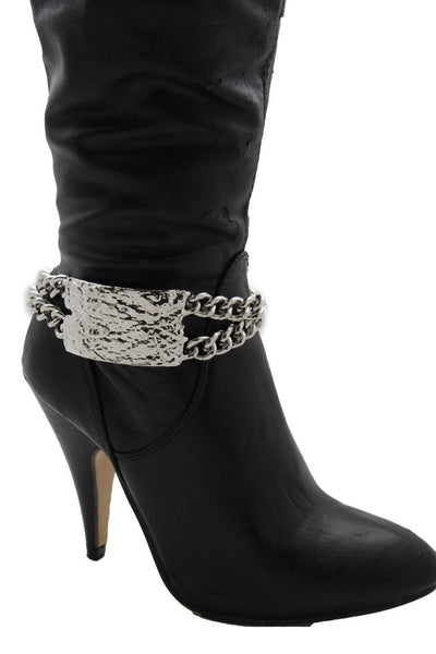 Gold Silver Metal Boot Chains Bracelet Sqaure Plate Anklet Shoe Charm New Women Western Style - alwaystyle4you - 8