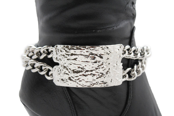 Gold Silver Metal Boot Chains Bracelet Sqaure Plate Anklet Shoe Charm New Women Western Style