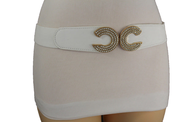 Faux Leather Belt Gold Metal 2 Moon Buckle Multi Rhinestones Women Accessories Plus Size