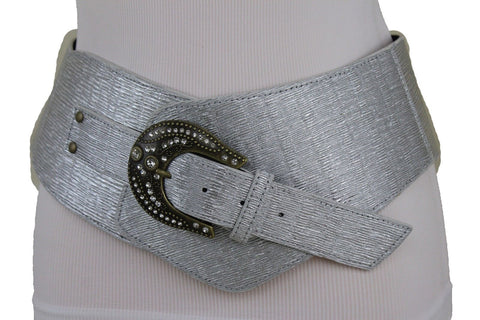 New Women Fashion Silver Wide Western Belt Bling Gold Metal Buckle Plus Size XL XXL