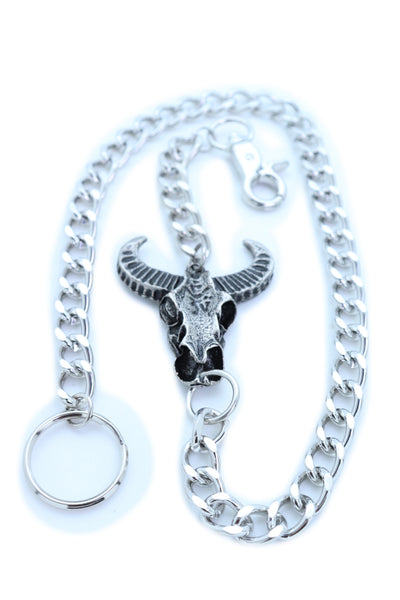 Brand New Men Silver Metal Wallet Chain Fashion KeyChain Biker Strong Big Bull Skull Charm