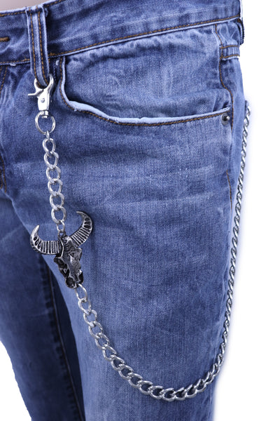 Men Silver Metal Wallet Chain Fashion KeyChain Biker Strong Big Bull Skull Charm Biker Style Fashion Accessory