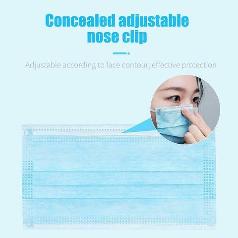 BRAND NEW BOX 50 PCS Protective Face Mask Mouth Light Blue Cover Easy Wear Fit