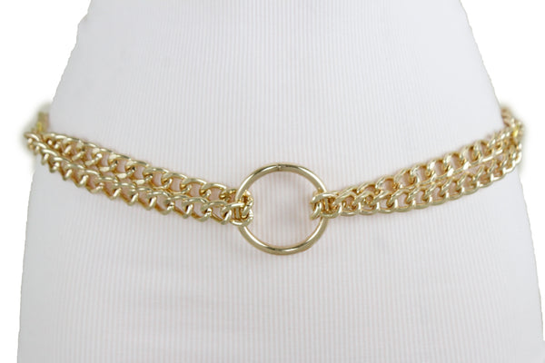New Women Hip High Waist Gold Metal Chain Link strands Center Ring Charm Belt Size XS S M