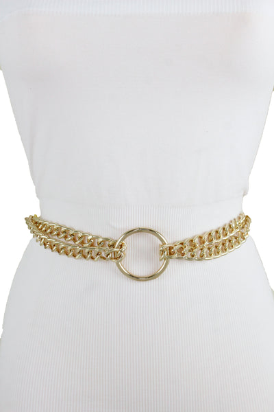 New Women Gold Metal Chain Waistband Center Ring Charm Party Belt Plus Size XL XXL