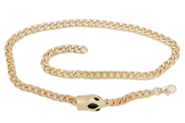 Women Pant Jeans Loop Fashion Belt Gold Metal Chain Snake Head Charm Fit Size M L XL