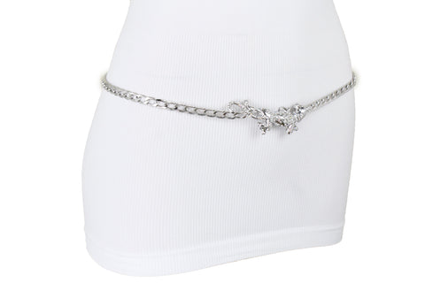 Women Belt Thin Waistband Silver Metal Chain Tiger Panther Charm Fit Size M L XL