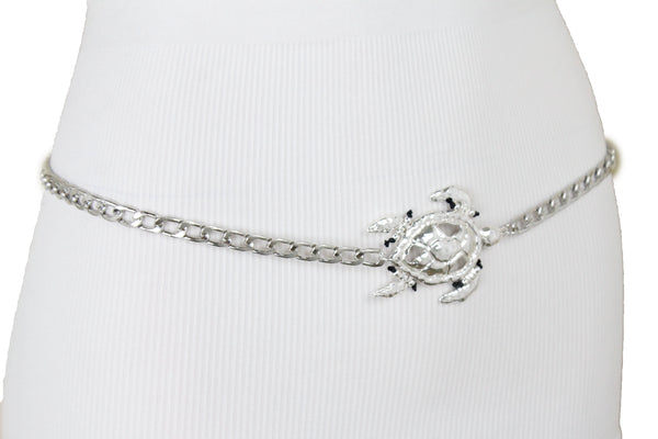 New Women Silver Metal Chain Shiny Turtle Charm Narrow Waisted Fashion Belt Size M L XL