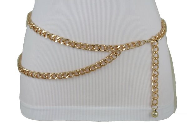 New Women High Waist Hip Gold Metal Chain Waistband Fashion Belt Side Wave Fit Size M L XL
