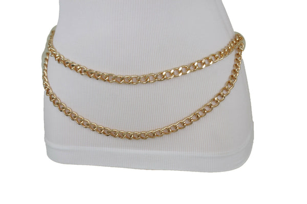 New Women Belt Gold Metal Chain Links Narrow Waistband Hip High Waist Size XS S M