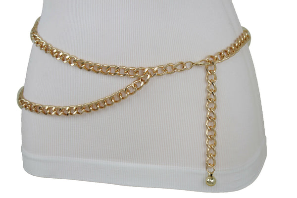 New Women Gold Color Metal Chain Link Fashion Belt Hip High Waist Ball Buckle Plus Size XL XXL