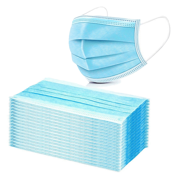 50 PCS Protective Face Mask Mouth Light Blue Cover Easy Wear Fit