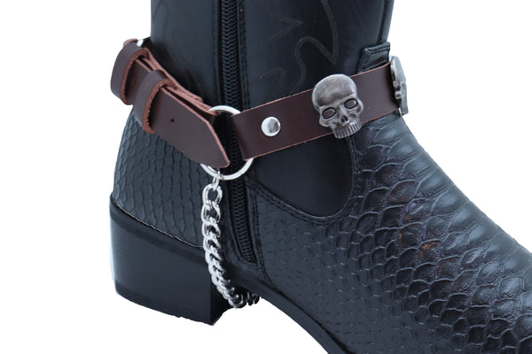 New Men Biker Silver Metal Chain Pair Brown Boot Bracelet 2 Straps Skull Charms Adjustable One Size