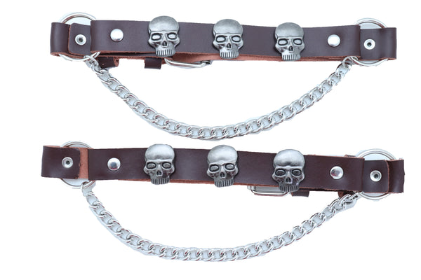 Brand New Men Biker Silver Metal Chain Pair Brown Boot Bracelet 2 Straps Skull Charms