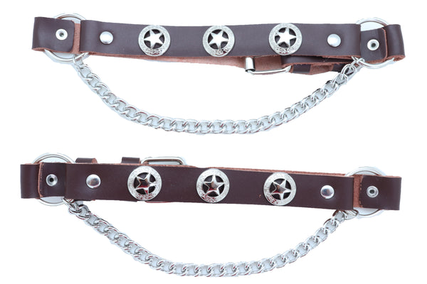 Brand New Men TX Biker Silver Chain Brown Color Boot Bracelets 2 Straps Texas Star Charms