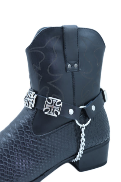 Brand New Men Biker Chain Black Faux Leather Bands Western Boots 2 Straps Big Cross Charms