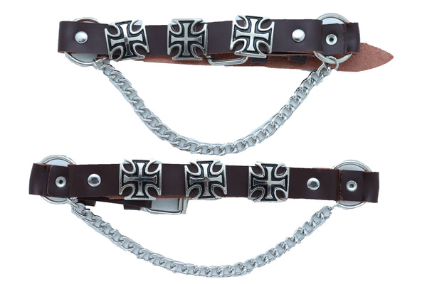 Men Biker Chain Brown Faux Leather Bands Boots 2 Straps Cross Religious Charms Adjustable One Size