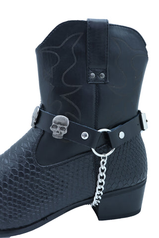 Brand New Men Biker Silver Chain Pair Black Color Boots Bracelets 2 Straps Skull Charms