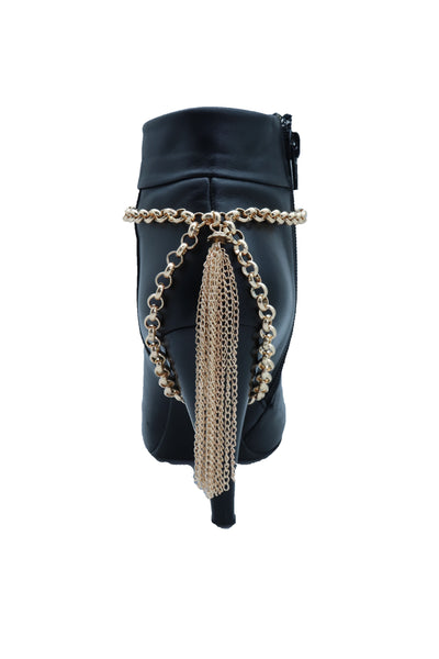 Brand New Women Gold Chain Boot Bracelet Western Shoe Anklet Back Tassel Fringes Charm