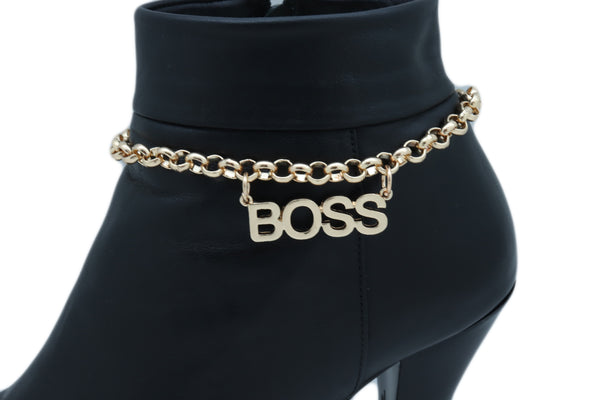 Cute Women Gold Metal Chain Western Fashion Boot Bracelet Shoe Anklet BOSS Charm Adjustable One Size