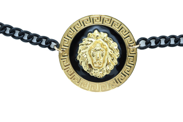 Women Black Metal Chain Boot Bracelet Shoe Anklet Gold Lion Charm Jewelry Adjustable Size