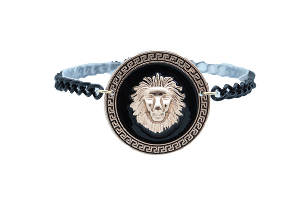 Brand New Women Black Metal Chain Boot Bracelet Shoe Gold Lion Coin Medallion Charm Anklet