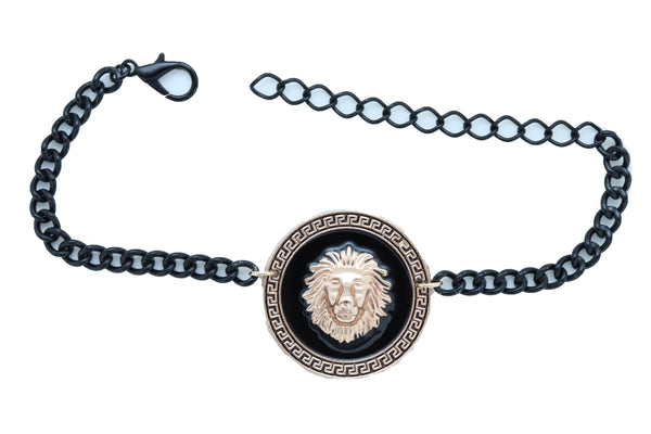Women Black Metal Chain Boot Bracelet Shoe Gold Lion Coin Medallion Charm Anklet Adjustable Strap One Size