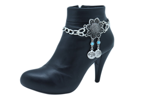 Women Silver Metal Chain Boot Bracelet Anklet Shoe Sun Flower Coin Charm Jewelry Adjustable One Size
