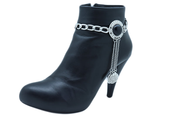 Women Silver Metal Chain Boot Bracelet Anklet Shoe Black Bead Long Dangle Coins Charm Adjustable One Size Band