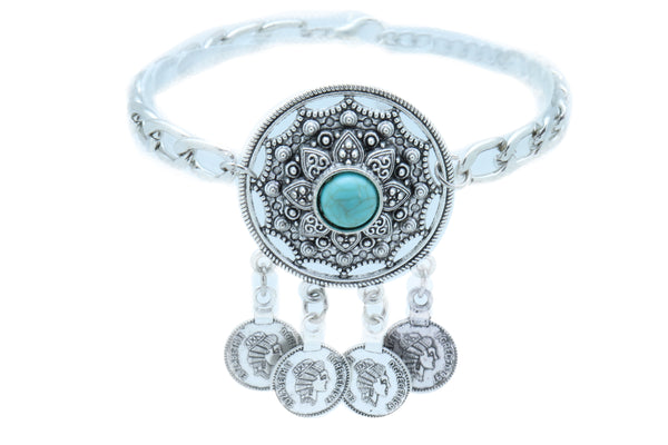 Women Silver Boot Chain Western Shoe Bracelet Turquoise Big Medallion Coin Charm Adjustable One Size