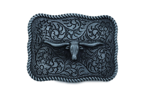 Brand New Men Buckle Silver Metal Bull Square Western Fashion Filigree Texas Long Horn Cow