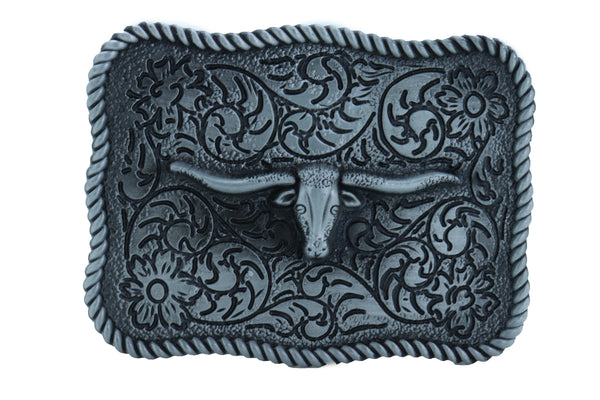 Men Buckle Silver Metal Bull Square Western Fashion Filigree Texas Long Horn Cow TX