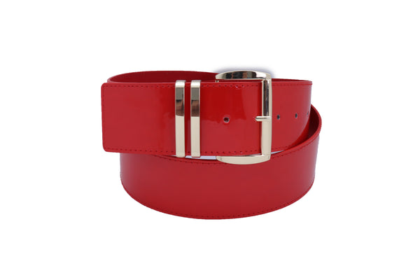 Women Red Color Faux Patent Leather Wide Band Belt Gold Metal Buckle Fit Size M L XL
