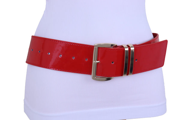 Brand New Women Red Color Faux Patent Leather Wide Band Belt Gold Metal Buckle Size M L XL