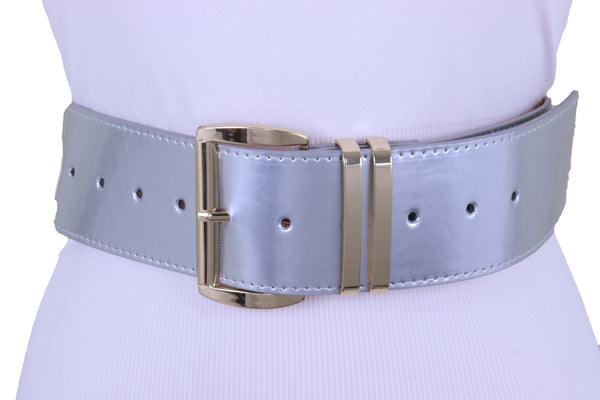 Brand New Women Silver Faux Leather Waistband Hip Waist Fashion Belt Gold Buckle M L XL
