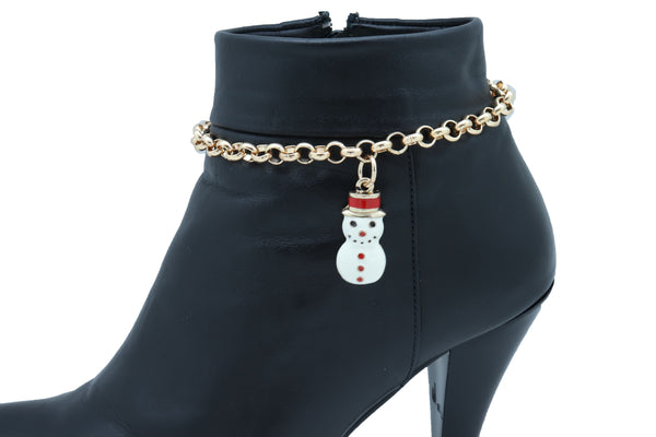 Brand New Women Gold Metal Chain Boot Bracelet Shoe Anklet Bling Fun Snowman Holiday Charm