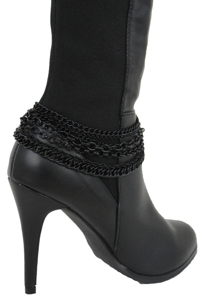 New Women Western Boot Black Metal Chain Bling Style Shoe Bracelet Charm Wrap Around