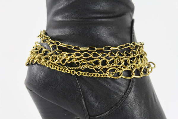 Gold Metal Boot Chains Bracelet Strap Multi Chunky Strands Shoe Charm Women Fashion - alwaystyle4you - 3