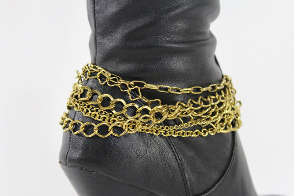 Gold Metal Boot Chains Bracelet Strap Multi Chunky Strands Shoe Charm Women Fashion - alwaystyle4you - 7