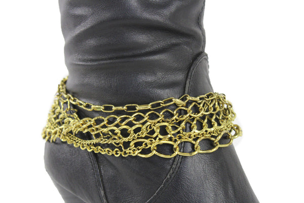Gold Metal Boot Chains Bracelet Strap Multi Chunky Strands Shoe Charm Women Fashion - alwaystyle4you - 10
