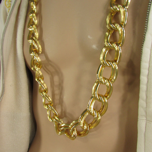 Chunky Gold Heavy Metal Double Chain Links Long Necklace Hip Hop New Men Fashion - alwaystyle4you - 3