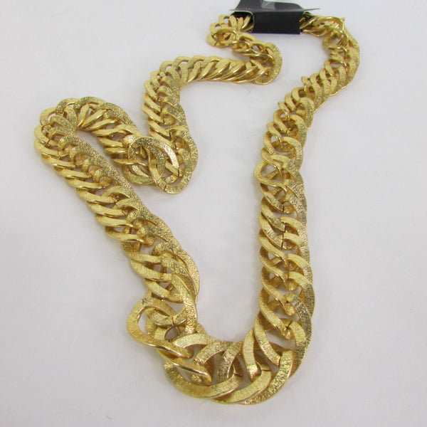 Gold Metal Chain Links Extra Long Chunky Gangster Hip Hop Biker Necklace New Men Fashion Accessories