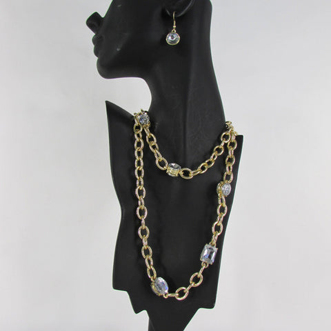 Extra Long Gold Metal Chain Links Large Rhinestones Necklace + Earrings Set New Women Fashion - alwaystyle4you - 1