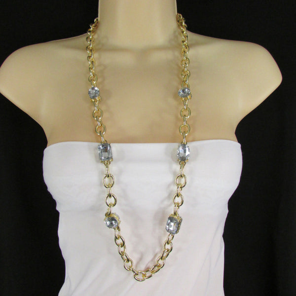 Extra Long Gold Metal Chain Links Large Rhinestones Necklace + Earrings Set New Women Fashion - alwaystyle4you - 3