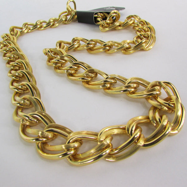 Chunky Gold Heavy Metal Double Chain Links Long Necklace Hip Hop New Men Fashion - alwaystyle4you - 4