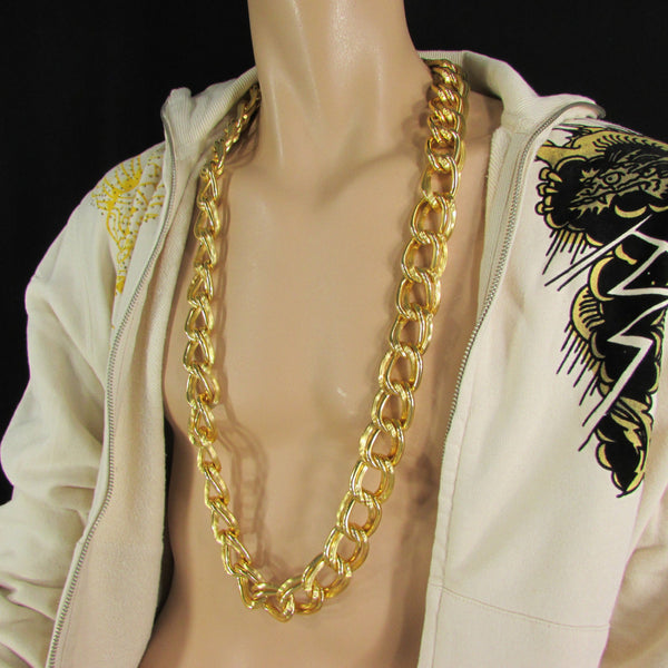 Chunky Gold Heavy Metal Double Chain Links Long Necklace Hip Hop New Men Fashion - alwaystyle4you - 5