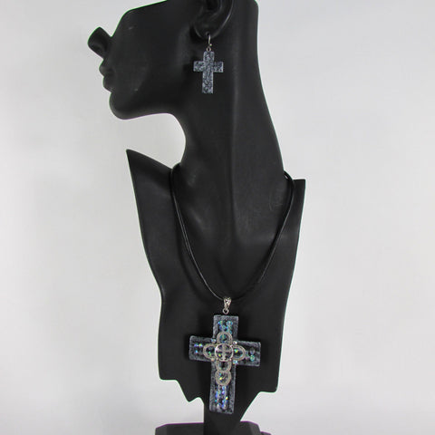 Faith Large 3D Metallic Black Cross Pendant Necklace + Earring Set New Women Fashion - alwaystyle4you - 1