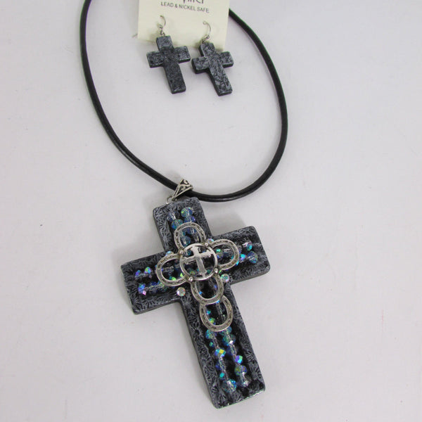 Faith Large 3D Metallic Black Cross Pendant Necklace + Earring Set New Women Fashion - alwaystyle4you - 3
